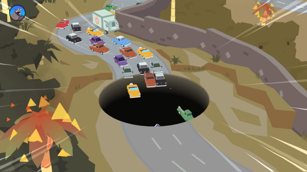 Donut County swallowing cars on the motorway