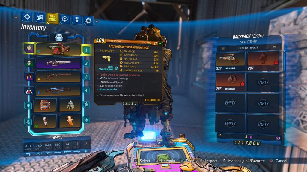 Frozen Ginormous Bangarang XL weapon Borderlands 3