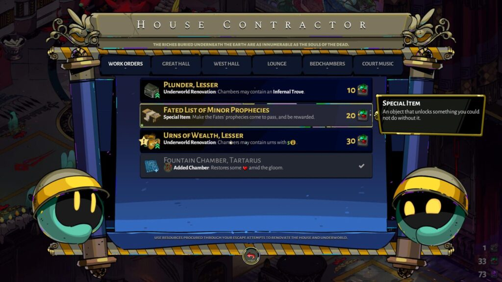 Hades Fated List of Minor Prophecies Work Order