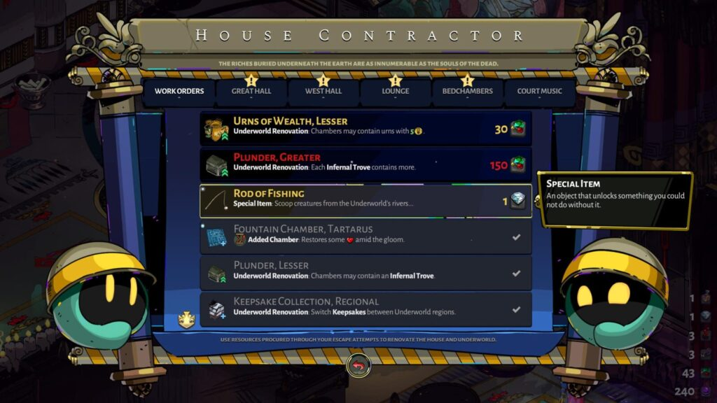 The Rod of Fishing available for purchase from the House Contractor's Work Order tab in Hades.