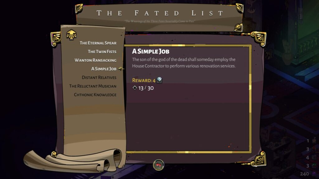"""The """"A Simple Job"""" Prophecy on the Fated List in Hades"""