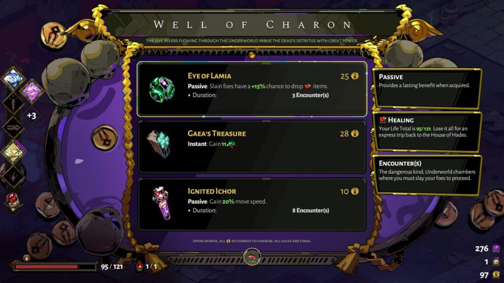 Purchasing items from the Well of Charon in Hades.