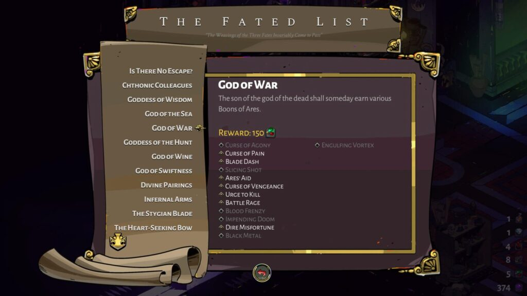 Hades Fated List of Minor Prophecies