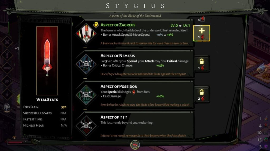 The Stygian Blade's Aspects in Hades