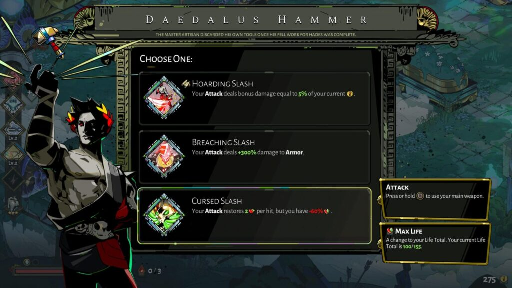 The Daedalus Hammer selection menu with a scroll icon indicator.