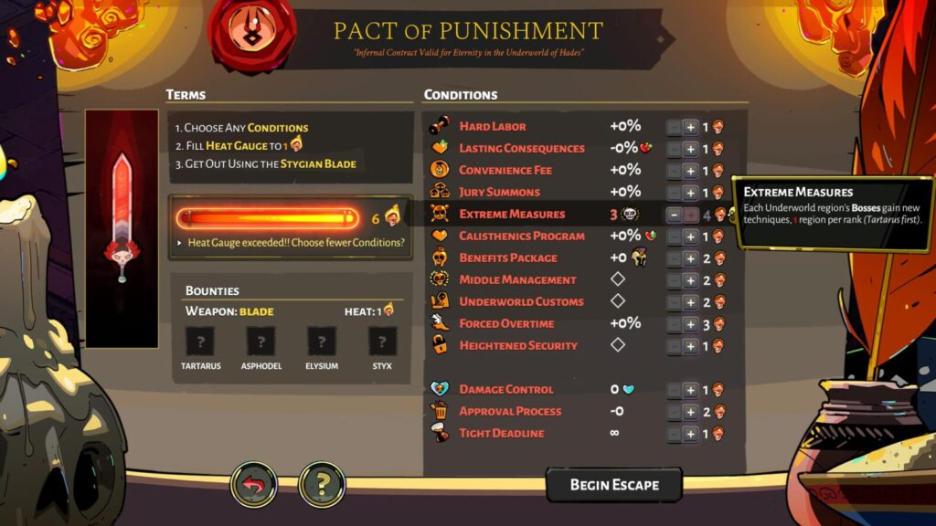Pact of Punishment with three levels of Extreme Measures applied in Hades.