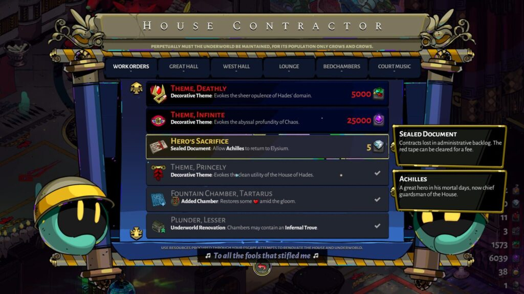 Hero's Sacrifice Work Order at the House Contractor in Hades