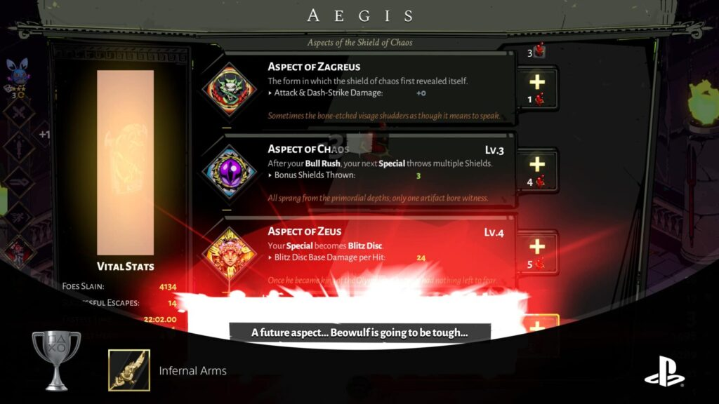 Infernal Arms trophy in Hades