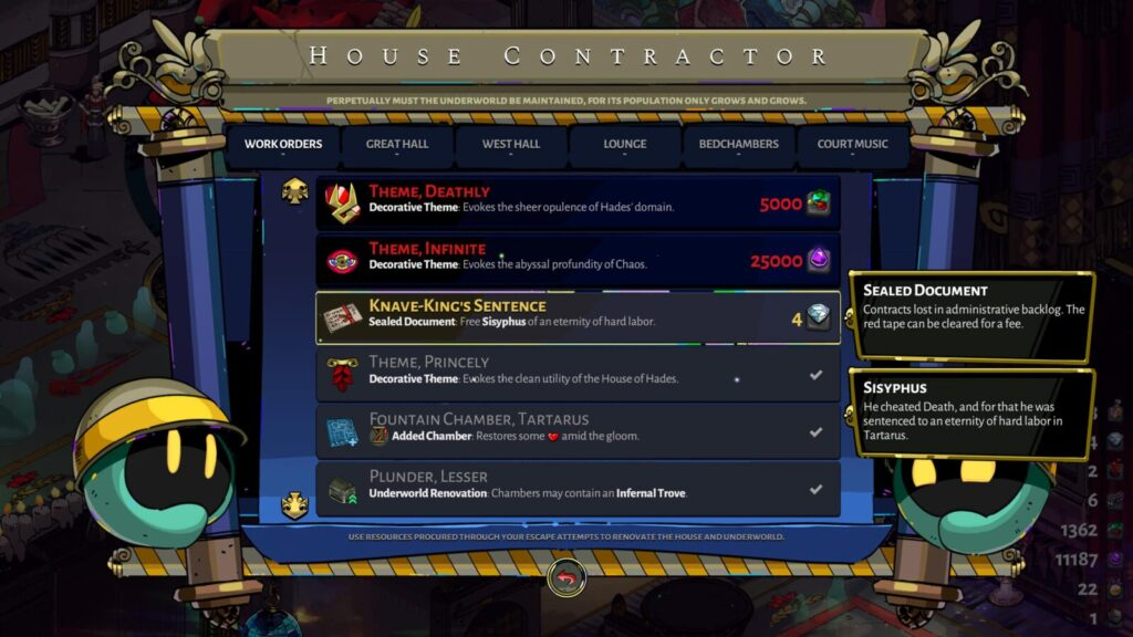 The Knave-King's Sentence Work Order at the House Contractor in Hades